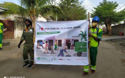 Campagne de sensibilisation à la salubrité au profit des populations des 9ème et 10ème arrondissements de Cotonou:  La SGDS-GN, Ikeass sarl, le 2ème Adjoint au maire de Cotonou, et les Chefs des 9ème et 10ème arrondissements de Cotonou lance le coup d'envoi